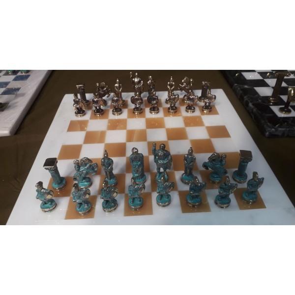 Μαρμάρινη Σκακιέρα με μπρούτζινα πιόνια